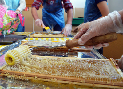 Honey harvest at Formby Library, 2018